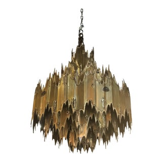 Vintage Tom Greene for Feldman Brutalist Torch Cut Brass 7 Tier Chandelier For Sale