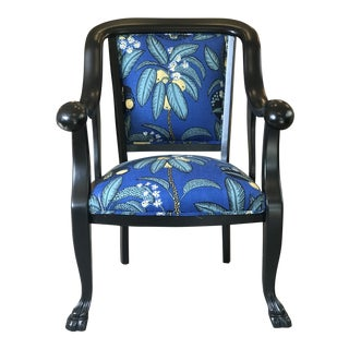 Early 20th Century Vintage Ebonized Empire Chair For Sale