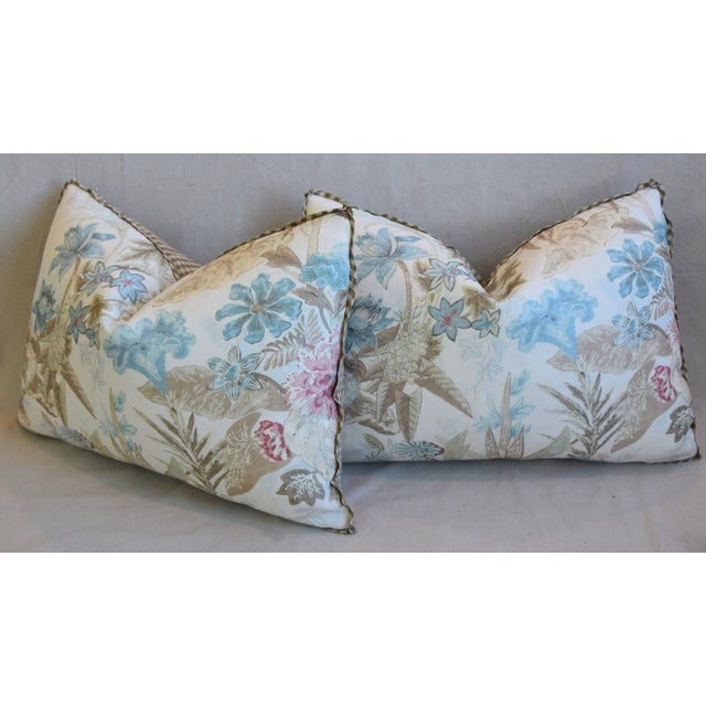 "Cowtan & Tout Floral Linen Feather/Down Pillows 26"" X 18"" - Pair For Sale - Image 9 of 13"