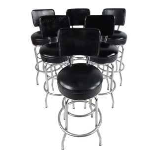 Set of Six Mid-Century Modern Swivel Bar Stools For Sale