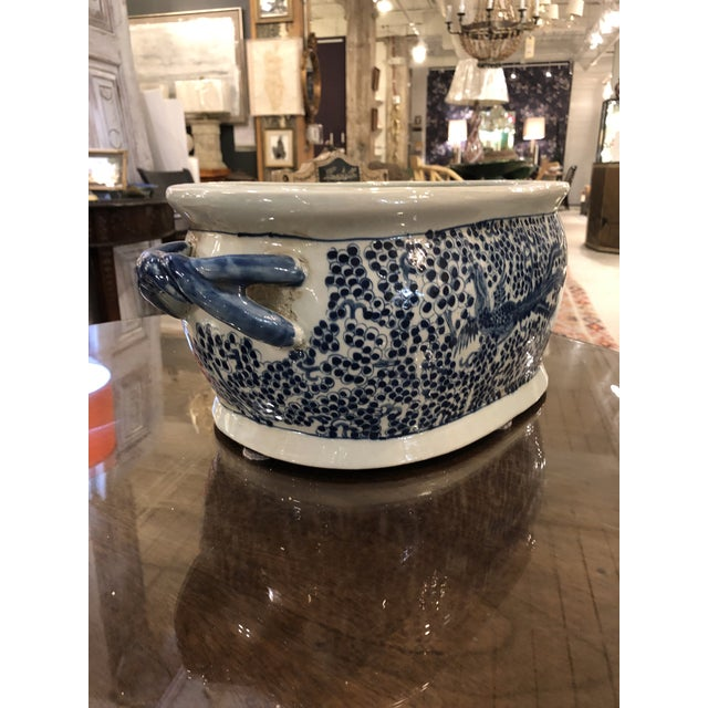 Chinese Oblong Blue & White Planter For Sale In Charleston - Image 6 of 6