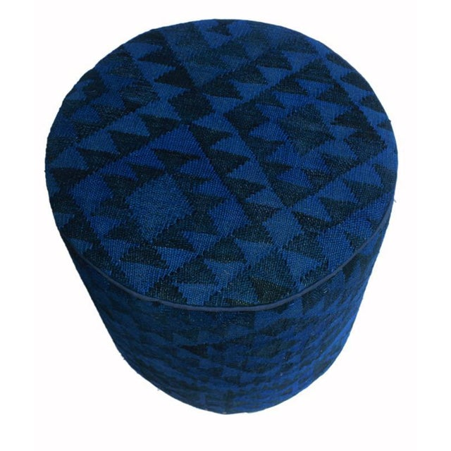 Asian Arshs Deandrea Blue/Drk. Blue Kilim Upholstered Handmade Ottoman For Sale - Image 3 of 8