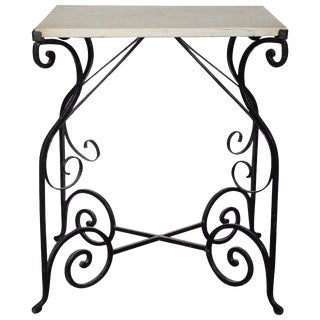 20th Century French Wrought Iron and Marble Side Table For Sale