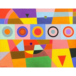 'Polychrome Geometric Abstract' by Walcott, 1984; American School Abstraction For Sale