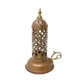 Early-20th Century Middle-Eastern Copper Candle Holder Lantern