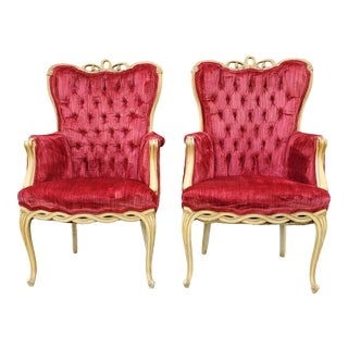 Vintage French Victorian Red Velvet Tufted Armchairs - a Pair For Sale