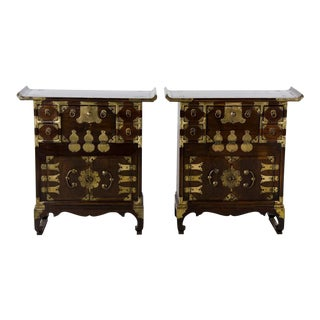 20th Century Korean Altar Top Decorative Side Table Chests - a Pair For Sale