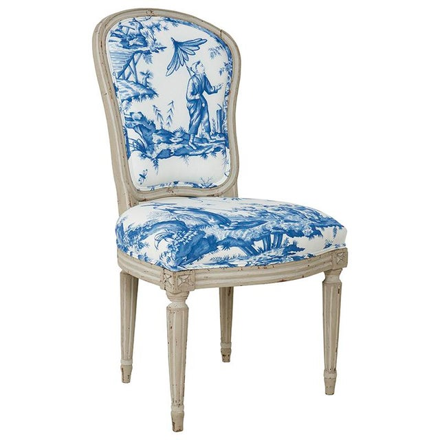 18th Century Painted French Side Chair, circa 1770 upholstered in Schumacher Shengyou Toile fabric (175804) and Jack...
