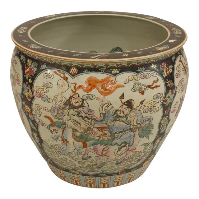 Asian Chinese Style Black & White Jardiniere For Sale