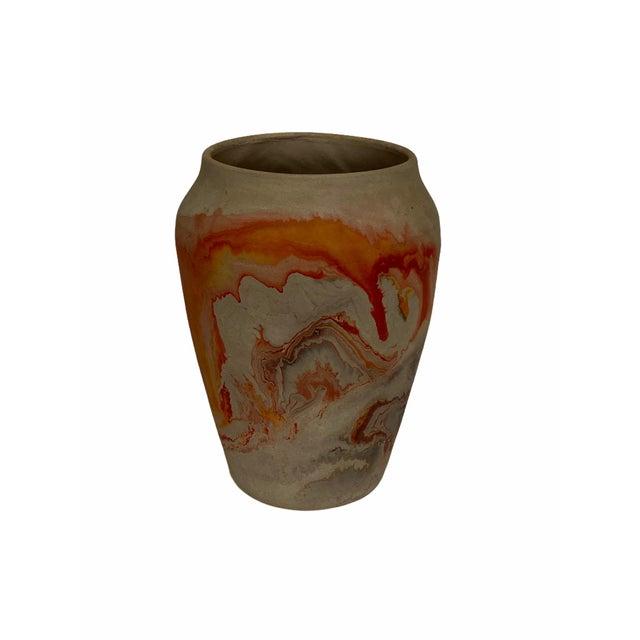 Vintage Nemad Indian Orange Brown Pottery Vase For Sale - Image 10 of 10