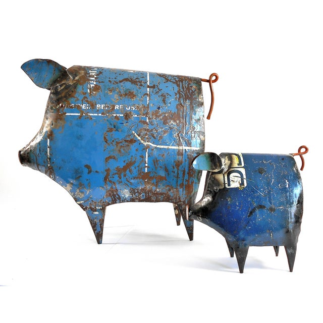 Recycled Metal Pig Sculptures - a Pair - Image 8 of 8
