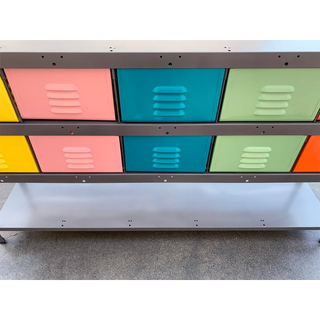Green Custom Made 5 X 2 Locker Basket Unit With Multicolored Drawers and Shelf For Sale - Image 8 of 9
