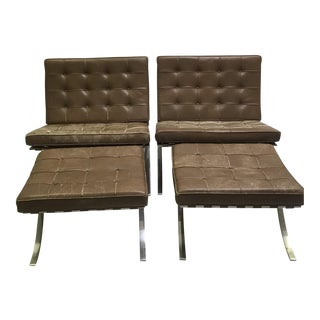 1960s Vintage Mies Van Dee Rohe for Knoll Leather Barcelona Chairs & Ottomans - 4 Pieces For Sale