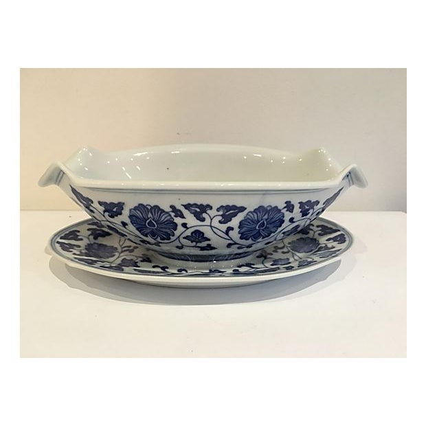 Blue & White Chinese Sauce Boat - Image 2 of 5