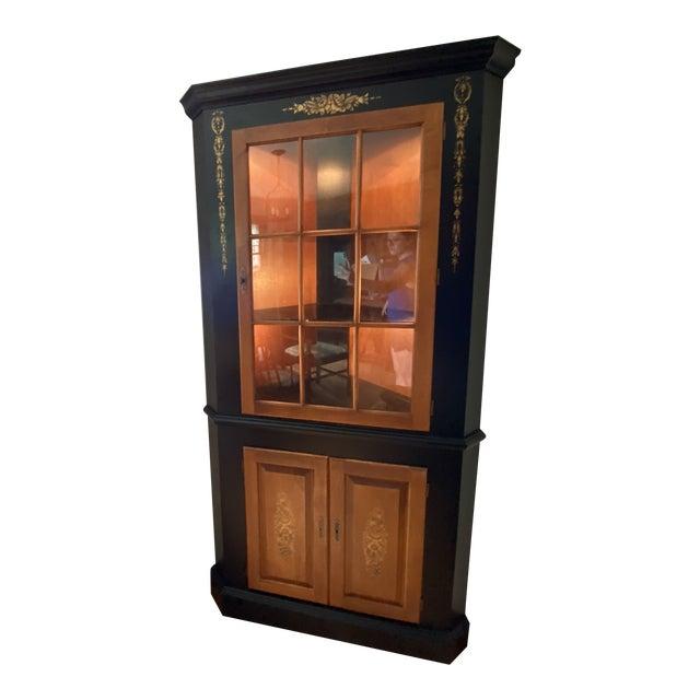 Black/Harvest Newington Hitchcock Lighted Corner Cabinet For Sale