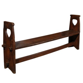 Narrow Tuscan Italian Wooden Bench with Stretcher from the Early 19th Century