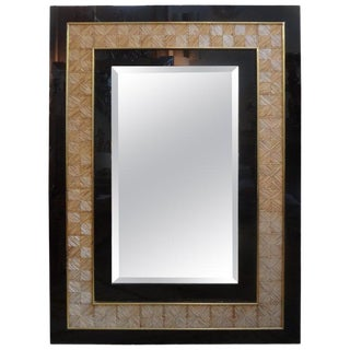 Vintage Rectangular Italian Acrylic, Brass and Bamboo Beveled Mirror For Sale