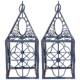 Pair of 1980 French Iron Lanterns