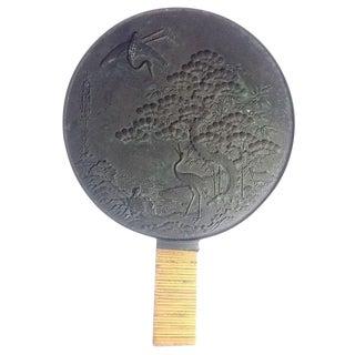 Late Edo to Meiji Period Antique Japanese Bronze Kagami Mirror For Sale