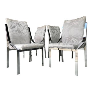 Milo Baughman Style Chrome Highback Dining Chairs, Set of 4 For Sale