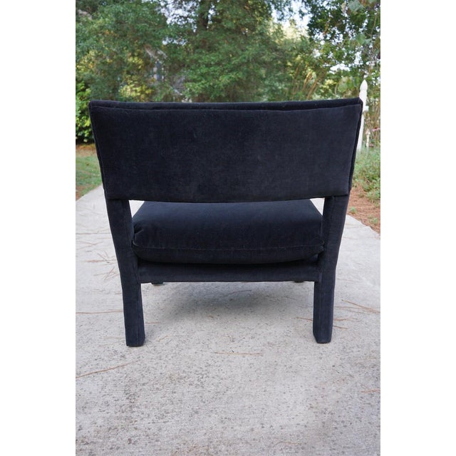 Baughman Style Black Velvet Open Arm Chairs - A Pair - Image 6 of 8