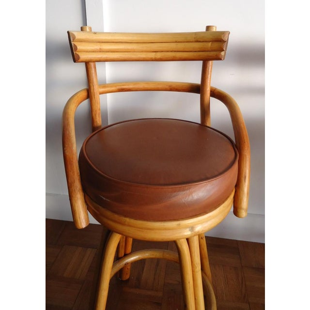 Country Vintage Rattan Bar Stools - Set of 4 For Sale - Image 3 of 11