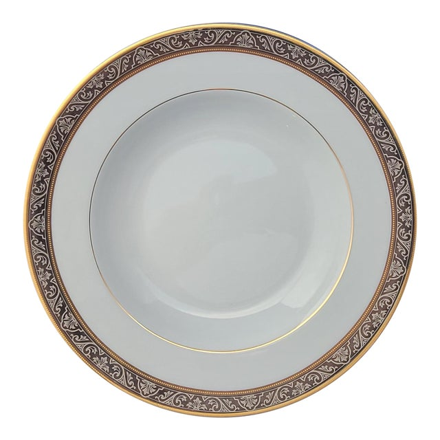 "Limoges Porcelain Philippe Deshoulieres Orleans Pattern Platinum Band 8 3/4"" Soup Bowl For Sale"