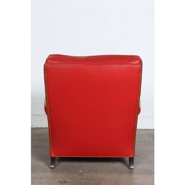 Late 20th Century Pair of Red Leather French Club Armchairs For Sale - Image 5 of 12