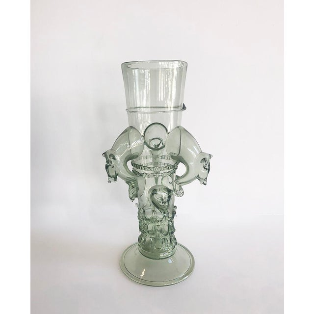 Boho Chic Venetian Glass Beaker Featuring Wild Boar Motif For Sale - Image 3 of 6