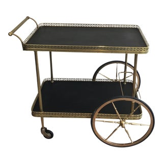 Neoclassical Style Brass Bar Cart With Faux Leather Covered Trays