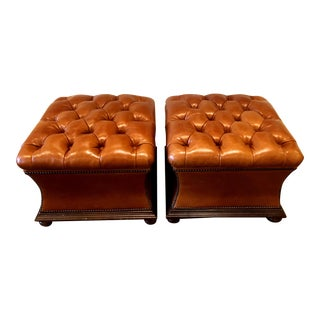 Leather Tufted Storage Ottomans- A Pair For Sale