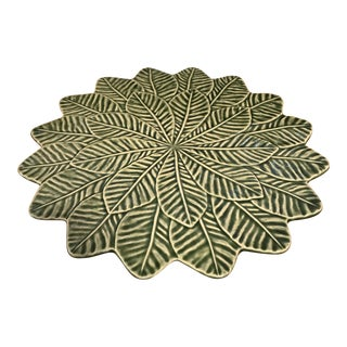 "Bordallo Pinhiero 13"" Green Lemon Leaf Cake Stand Serving Plate For Sale"
