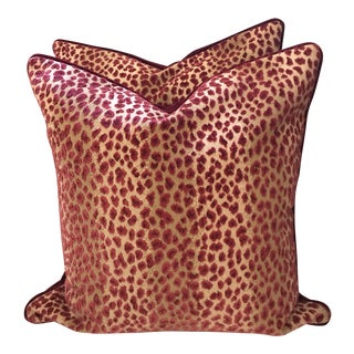 Cowtan and Tout Ocelot Red Cafe Pillows - A Pair For Sale