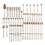 Image of Mid-Century Modern Danish Sigvard Bernadotte Bronze Scanline Flatware - 79 Piece Set For Sale