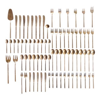 Mid-Century Modern Danish Sigvard Bernadotte Bronze Scanline Flatware - 79 Piece Set For Sale
