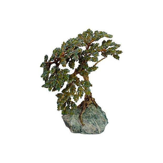 Metal and Stone Bonsai on Stone Base - Image 1 of 6
