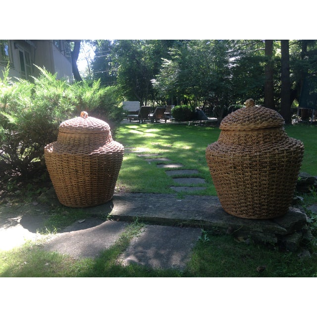 Giant Braided Seagrass Baskets - Pair - Image 3 of 7