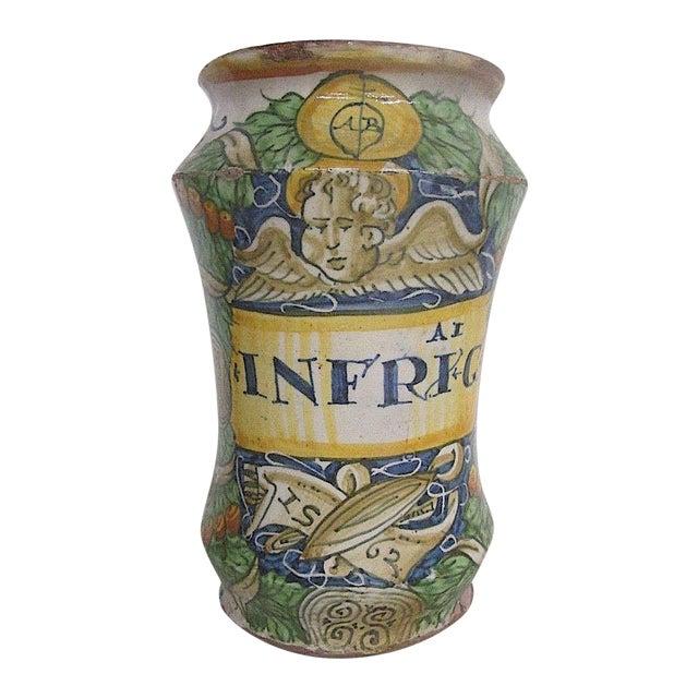 16th C. Italian Majolica Albarello Pharmacy Jar For Sale