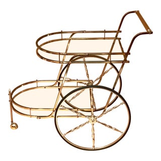 20th Century Hollywood Regency Italian Two-Tier Brass Bar Cart or Tea Trolley For Sale