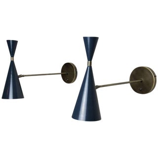 Italian Modern Wall-Mount Sconces in Bronze and Enamel by Studio Machina - a Pair