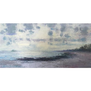 """Van Cleve Oil Painting """"Summer Morning"""", Contemporary Small Seascape For Sale"""