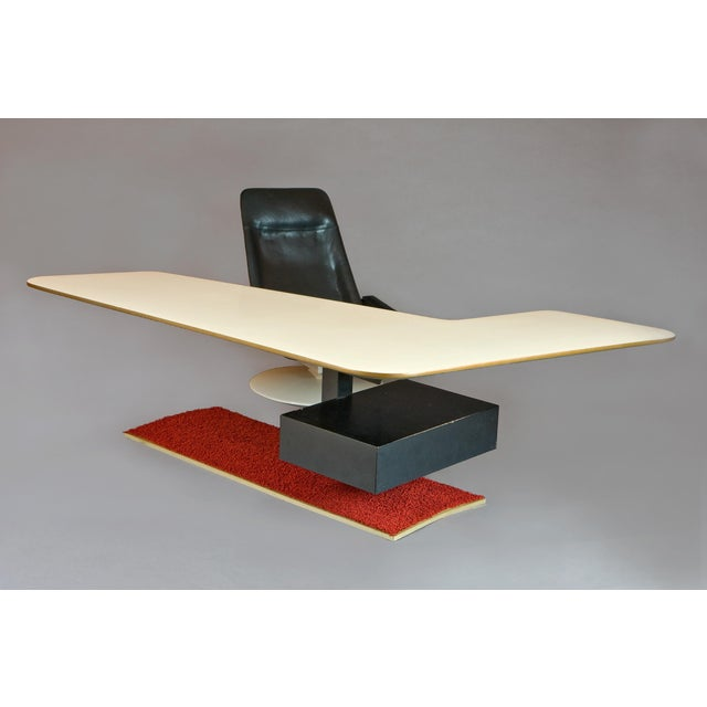 Mid-Century Modern 1970s Atomic Age Boomerang Desk and Gemini Leather Armchair - 2 Pieces For Sale - Image 3 of 5