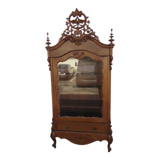 Victorian Heavy Carved Tall China Display Cabinet For Sale