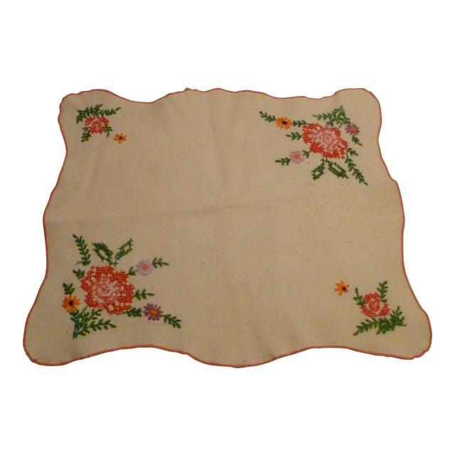 Vintage Linen Embroidered Handmade Topper Runner Bisquit Holder Bread For Sale