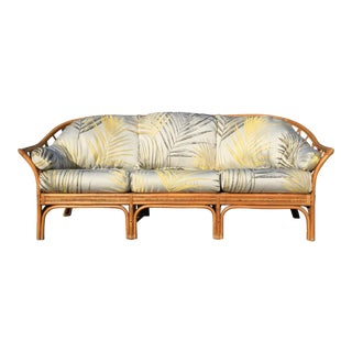 1960s Vintage Bamboo Rattan Sofa For Sale