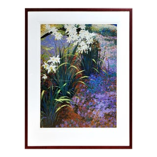 """Large (42""""x54"""") Framed Limited Edition Serigraph Depicting Lilies Around a Pond For Sale"""