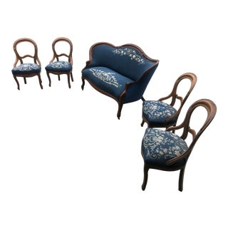 1860's Blue Settee and Chairs - 5 Pieces For Sale