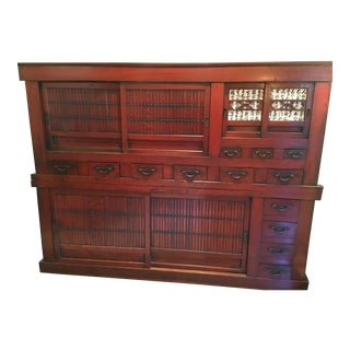 Early 20th Century Oriental Double Stack Storage Cabinet For Sale