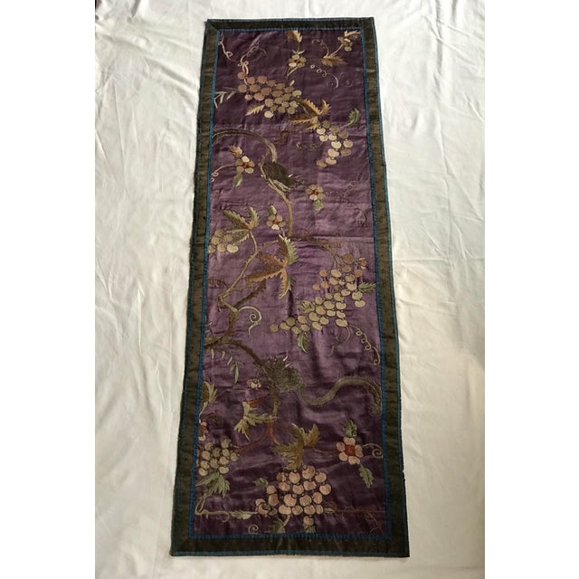 Chinese Embroidered Silk Textile-Runner For Sale - Image 12 of 12