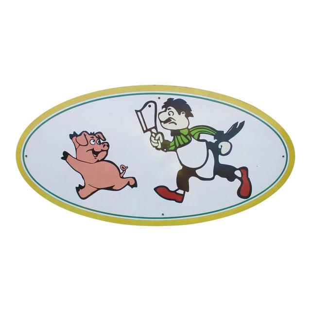 Vintage Wood Pig & Butcher Sign - Image 1 of 9